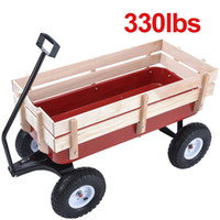 Wholesale Kid Children Garden Cart Wood Railing Red Outdoor Wagon ALL Terrain Pulling
