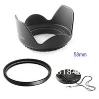 ai filters - 58mm mm Flower Lens Hood UV Filter Lens Cap for Canon EOS D D D D D Nikon AI mm lens DS DSLR