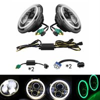 LED light Left and Right 12 Months 7 Inch Round LED Headlight with green Signal Halo Angle Eyes with DRL Halo for 97-15 Jeep Wrangler