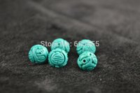 ancient stone carving - Blue Turquoise Carved Ancient Dragon Ball Beads For Jewelry Making Materials beads