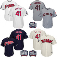 santana - Youth World Series Patch Carlos Santana Cleveland Indians kids Baseball Jersey stitched size S XL