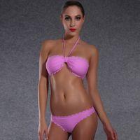 bandeau bra xl - Women s Bandeau Bikini Push Up Swimwear Swimsuit New Fashion Sexy Beachwear Summer Hot Playsuit Premium Bra Set Solid Color