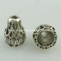 alloy spacers - 18766 Vintage Silver Totem Melon Lotus mm Spacers Bead Cap Tassel End Cap