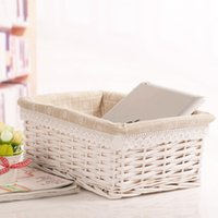 Wholesale R R large decorative wicker baskets for makeup honey organizers for home wicker toy basket white wicker storage box for cosmetics