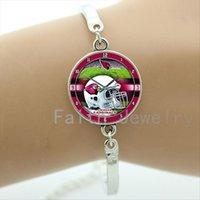 arizona bracelet - Fashion sports style bracelets case for Arizona Cardinals team helmet art picture bracelet trendy rugby men jewelry gifts NF159
