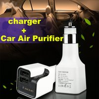 Wholesale Car air purifier Dual usb car charger Auto Air Freshener Ionic Oxygen Bar Ozone Ionizer Cigarette lighter power for charging