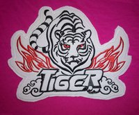 backing fabric for embroidery - 17 cm large black and red tiger embroidery iron on patch on white fabric with hot melt adhesive on the back for clothes DIY