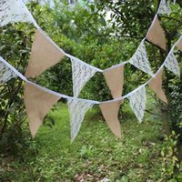 Wholesale 5Pcs M burlap linen lace bunting triangle flags pennant for party wedding garland decoration product supply