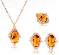 amber rose ring - Trendy Rose Gold Plated Women Amber Jewelry Set Pendant Necklace Stud Earrings Ring Fashion Jewelry Party Style For Women