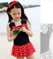 al hair - 2016 cartoon swimsuit girl hair band dress pretty bows baby fashion beach swimwear children swimsuit summer in stock set AL