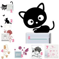 Wholesale Mix Fashion Butterfly Rose Flower Cat Dog Switch Vinyl Stickers for Nursery Kids Room Wall Stickers CM