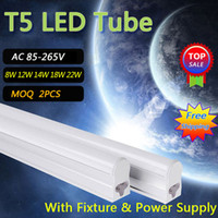 Wholesale T5 LED Tube Lights V V LED Fluorescent Tube T5 Wall Lamps W W W W W Cold White White T5 Bulb Light