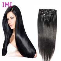 Wholesale 8A Top Hair quot Clip in Human Hair Extensions straight Brazilian Hair For fashion humans Hair Piece US Stock