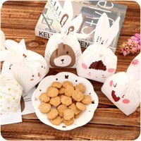 Wholesale 2016 New Cute Rabbit Ears Cookie Bags Self Adhesive Plastic Bags For Biscuits Snack Baking Package Food Bag