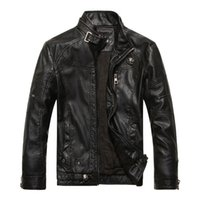 Wholesale Men s Motorcycle PU leather jackets slim short stand collar jaqueta coat De Cuero Hombre M XL colors