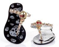 aa jellies - fashionville sale f759 colors crystal skull jelly flip flops flat sandals beach black