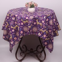 animal print table covers - Cartoon Florets Animal Deer Tablecloth Thick Durable Cotton Linen Purple Table Cloth for Christmas Holiday Party Table Cover Decoration