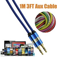 Wholesale 1M ft Nylon weave AUX cable mm jack Male to Male Stereo Audio cable Jack Male Lead for Iphone plus Speaker