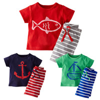 Wholesale Prettybaby kids boys cartoon cotton t shirts string striped short pants set suits children fish boat anchor print clothes Pt0370 la