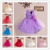 Wholesale Hot colors pure color Lace Kids girls Sequins Dancewear V Neck Vest tutu dress with Big flower By EMS a0085