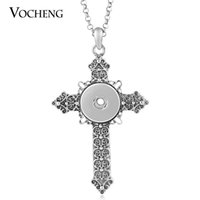 Wholesale VOCHENG NOOSA mm Ginger Snap Vintage Cross Pendant Necklace with Stainless Steel Chain NN