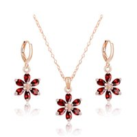 american cues - Hot Sale Jewelry Set Gold Plated CZ Zircon Cue Flower Pendant Necklace Earrings For Women Jewelry Wedding Bridal Jewelry Sets