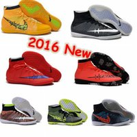 Wholesale Cheap Grass - New Arrivals mercurial superfly ic mens soccer shoes cleats cheap superflys indoor football boots futsal shoes cleats yellow red grass green