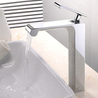 bathroom desing - Free shippping Unique Desing Single Handle Waterfall Basin Faucet Tap Deck Mounted Brass Hot and Cold Bathroom Faucet BF758