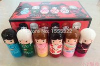 Wholesale 24 Lovely Kimono doll Pattern colorful Girl Makeup Lip Balm lipstick smackers Lipstick present