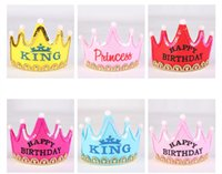 Wholesale Hot Crown Led Happy Birthday Cap For Adult Children Colorful Hat King Princess Luminous Led Birthday Cap Hat Event Party Festival Decoration