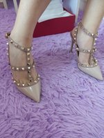 Wholesale 2016 color Rivets Shoes Patent Leather Pumps Vogue Stud Shoes Women Summer High Quality Pointed Toes High Heels Sandals Pumps Size