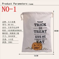 halloween spider - 2016 hot style Halloween Large Canvas bags cotton Drawstring Bag With Pumpkin devil spider Hallowmas Gifts Sack Bags