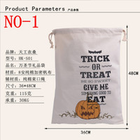 Wholesale 2016 hot style Halloween Large Canvas bags cotton Drawstring Bag With Pumpkin devil spider Hallowmas Gifts Sack Bags