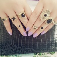 used clothing - 9pcs set New Midi Ring Set Suit Alloy No Use Ornaments Europe And America Exaggeration Jewelry Clothing Accessories