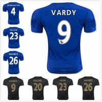 anti drink - 15 Leicester city black Top thailand quality SOCCER JERSEY Leicester city T shirts VARDY ULLOA MAHREZ DRINK WATER DHL shipping