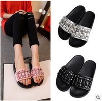 adhesive for concrete - Women Shoes Slippers Shoes Woman Rhinestone Flat Sandals Wedges Summer Slip On Beach Sandalias Mujer For Women