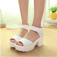 Wholesale Women Summer shoes Factory direct sale white Black fashion platform soft PU sandals women s high heeled shoes thick heel sandals