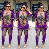 Wholesale 2016 Women African Dashiki Print Stretch Pant Blouse Half Sleeve Tops Pants Suit Piece Set Elegant Breathable Comfortable Ethnic Clothing