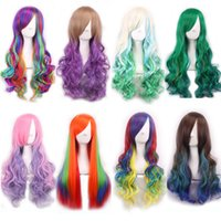 Wholesale 1pcs Colors Sexy inch Wavy cosplay wigs mix color cm Long green blue purple Synthetic Heat Resitant Wigs Costume Hair for Women Girl