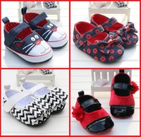 Girl Spring / Autumn Fabric Cheap cartoon children canvas shoes new spring & autumn baby toddler shoes pretty bows girl zebra PU soft-soled shoes 12pair 24pcs B3