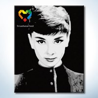 audrey hepburn drawings - Audrey Hepburn Wall Art DIY Painting Baby Toys x50cm Digital Canvas Oil Painting Drawing Wall Art for Family Gift with Wooden Frame