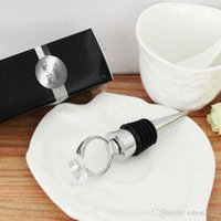 Wholesale 2016 new wine bottle stopper n openner in White Box Bride and groom bottle stopper wedding party supplies favor gift