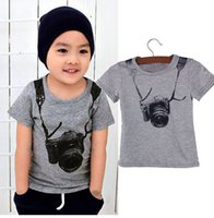 Wholesale Delicate Hot Summer Style Cartoon Funny Camera Short Sleeve T Shirt Tees Clothes for Boy Children t shirts Fast Shipping