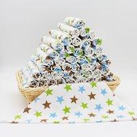 band saliva - INS Baby Bibs Waterproof Burp Cloths Newborn Scarf Triangle Towel Cartoon Print Double Cotton Cloth Band Baby Feeding Saliva Towels Free