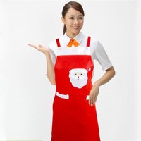 Wholesale 2pcs Christmas Decoration Santa Noel Apron Home Kitchen Cooking Baking Chef Red Apron Size Adult Xmas Dinner Party Apron