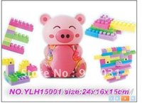 Wholesale In year new product s Pink pig pieces of outfit building blocks