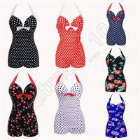 Wholesale LJJG124 NWT Hot Women Sexy Swimsuit Retro Pinup Floral Polka Dot Vintage One Piece Monokinis Halter Bikini Beachwear Plus Size10pcs