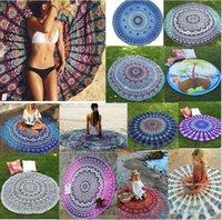 Wholesale 17 Style Round Tassel Beach Towel Sarongs cm Bath Towel Tassel Decor Geometric Printed Bath Towel Summer Style
