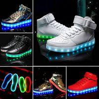 Cheap Wholesa leWomen Men LED Light Up Trainer Lace Up High Top Luminous Casual Shoes Sneakers 7 Kind of Color US Size 5-10.5 Children's shoes