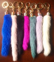 apatite purple - The Korean version of mobile phone lanyards decorative ornaments bag imitation fur imitation fox tail plush car key pendant